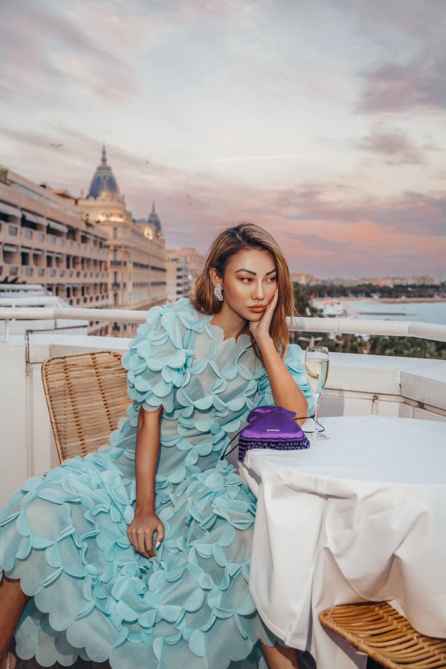 jessica wang wearing a blue mesh dress while sharing summer dresses to wear on repeat // Jessica Wang - Notjessfashion.com