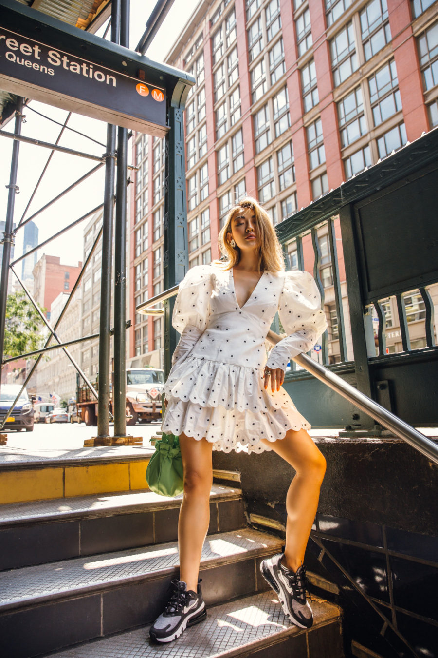 jessica wang wearing a polka dot mini dress with juliet sleeves and sneakers while sharing comfortable spring outfits // Jessica Wang - Notjessfashion.com