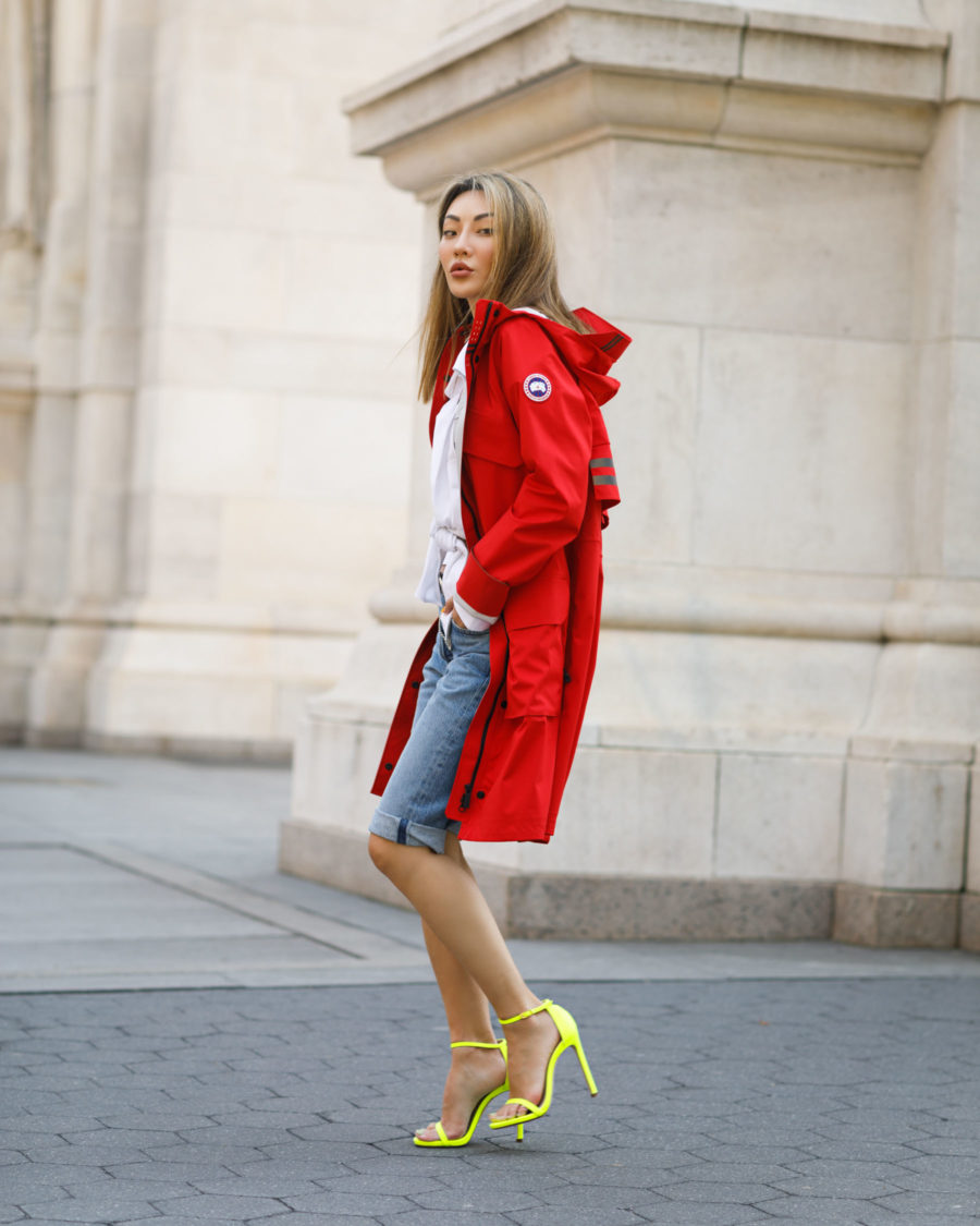 jessica wang wearing red jacket and denim bermuda shorts sharing july 4th designer sales // Jessica Wang - Notjessfashion.com