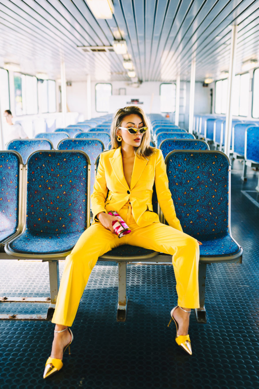 resort wear trends of 2020 featuring yellow suit // Notjessfashion.com