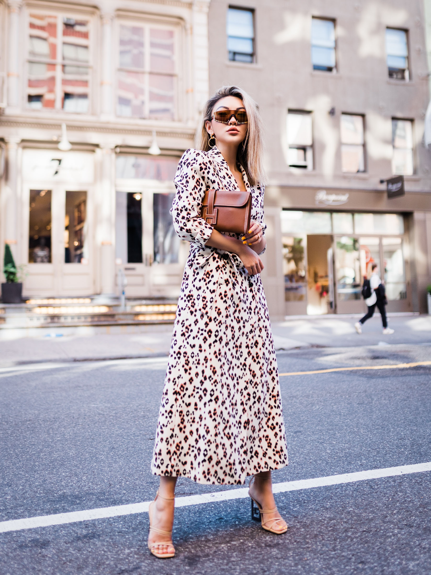 summer staples to take into fall, leopard dress, jacquemus heels // Notjessfashion.com
