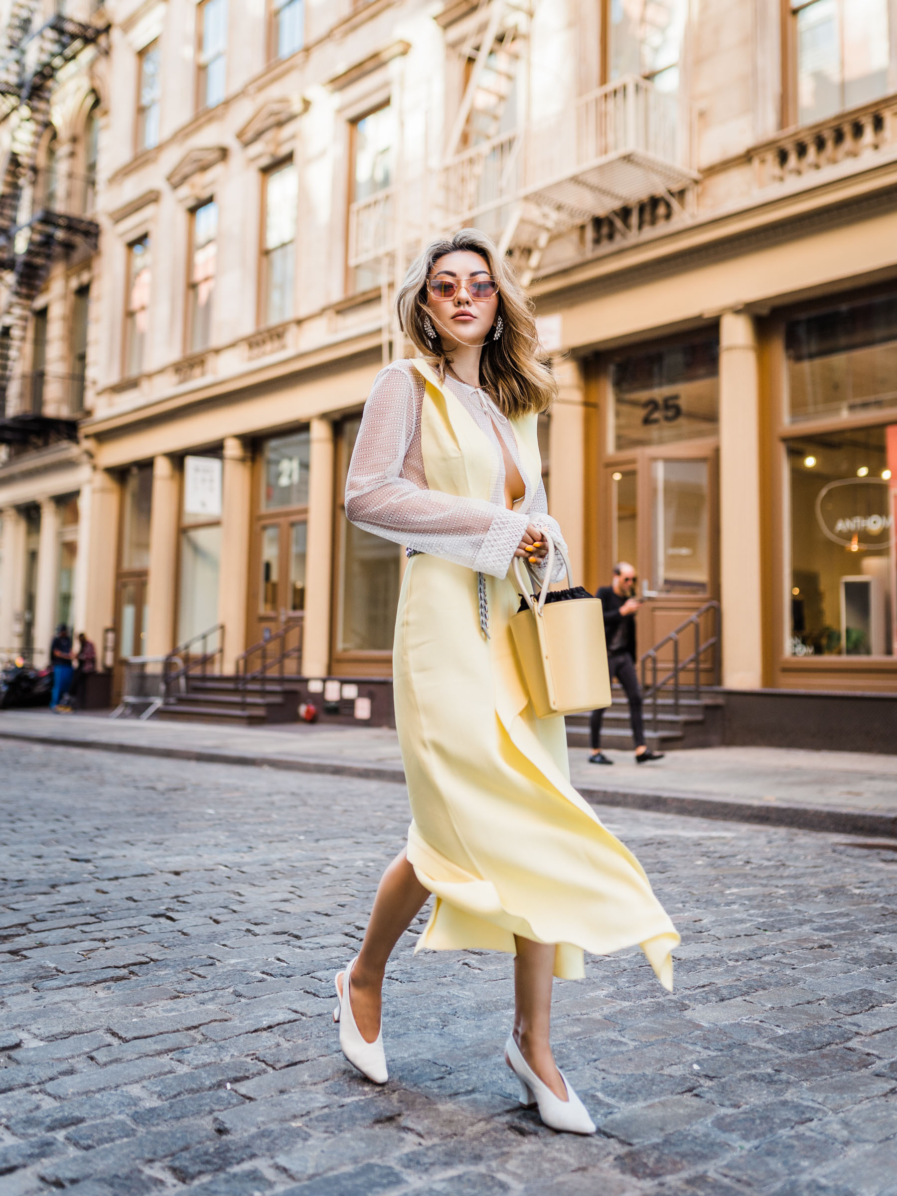 sheer fashion trend, sheer yellow dress, white slingback pumps // Notjessfashion.com