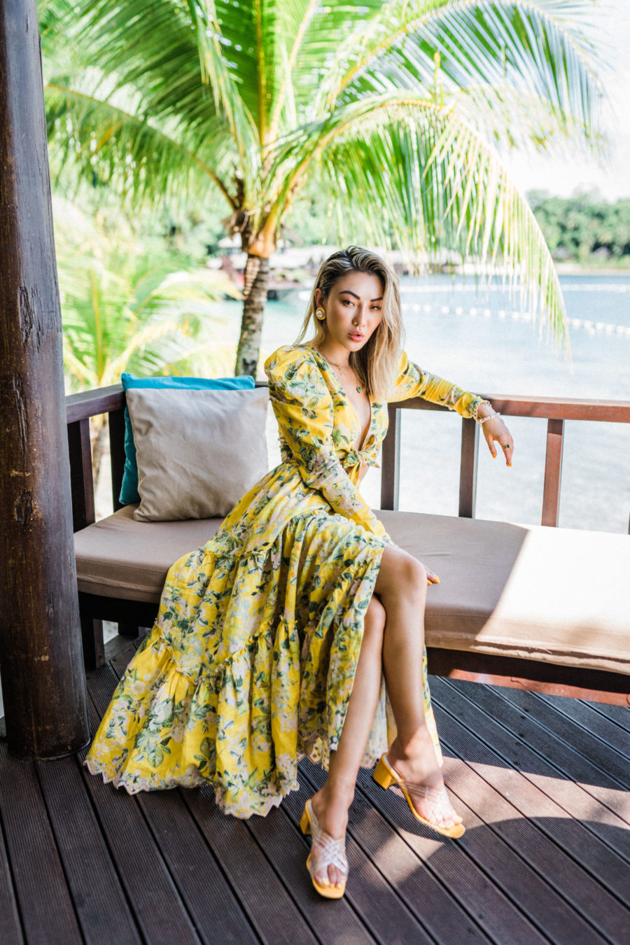 Vintage Fashion Trends - Yellow Floral dress, yellow square toe sandals // Jessica Wang - Notjessfashion.com