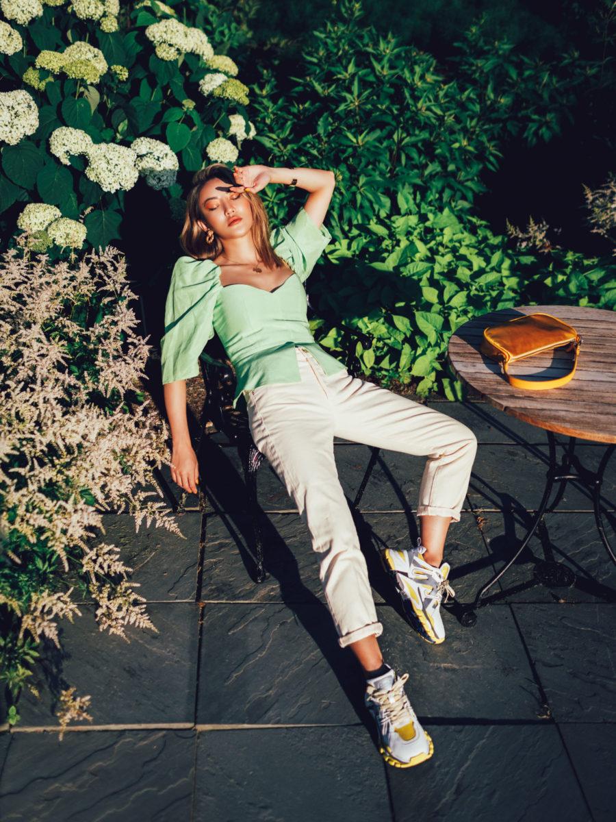 fashion blogger jessica wang wearing beige high-waisted jeans // Jessica Wang - Notjessfashion.com