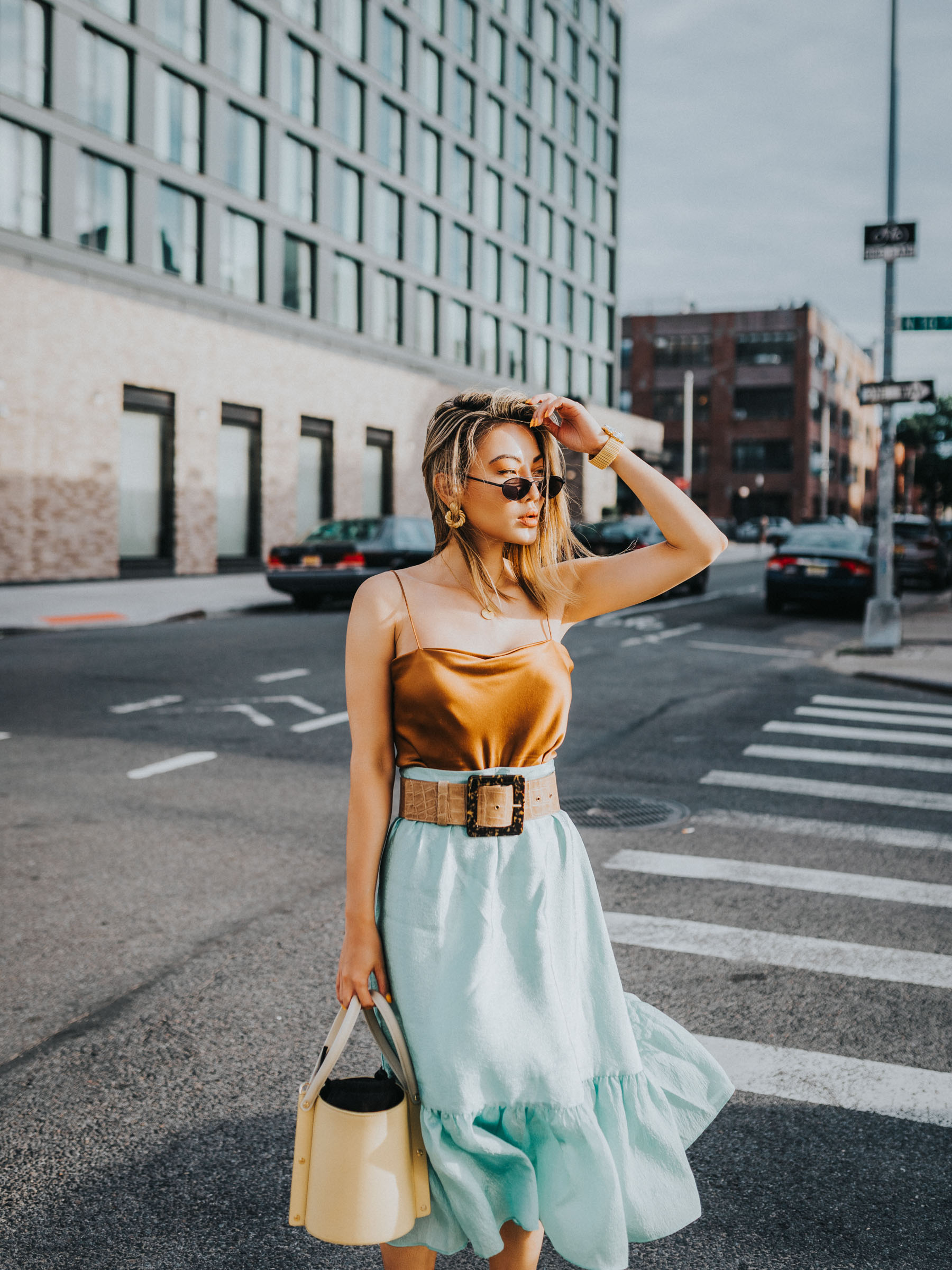 wedding guest outfit ideas, cowl neck cami, satin cami and ruffle skirt, belted ruffle skirt // Notjessfashion.com
