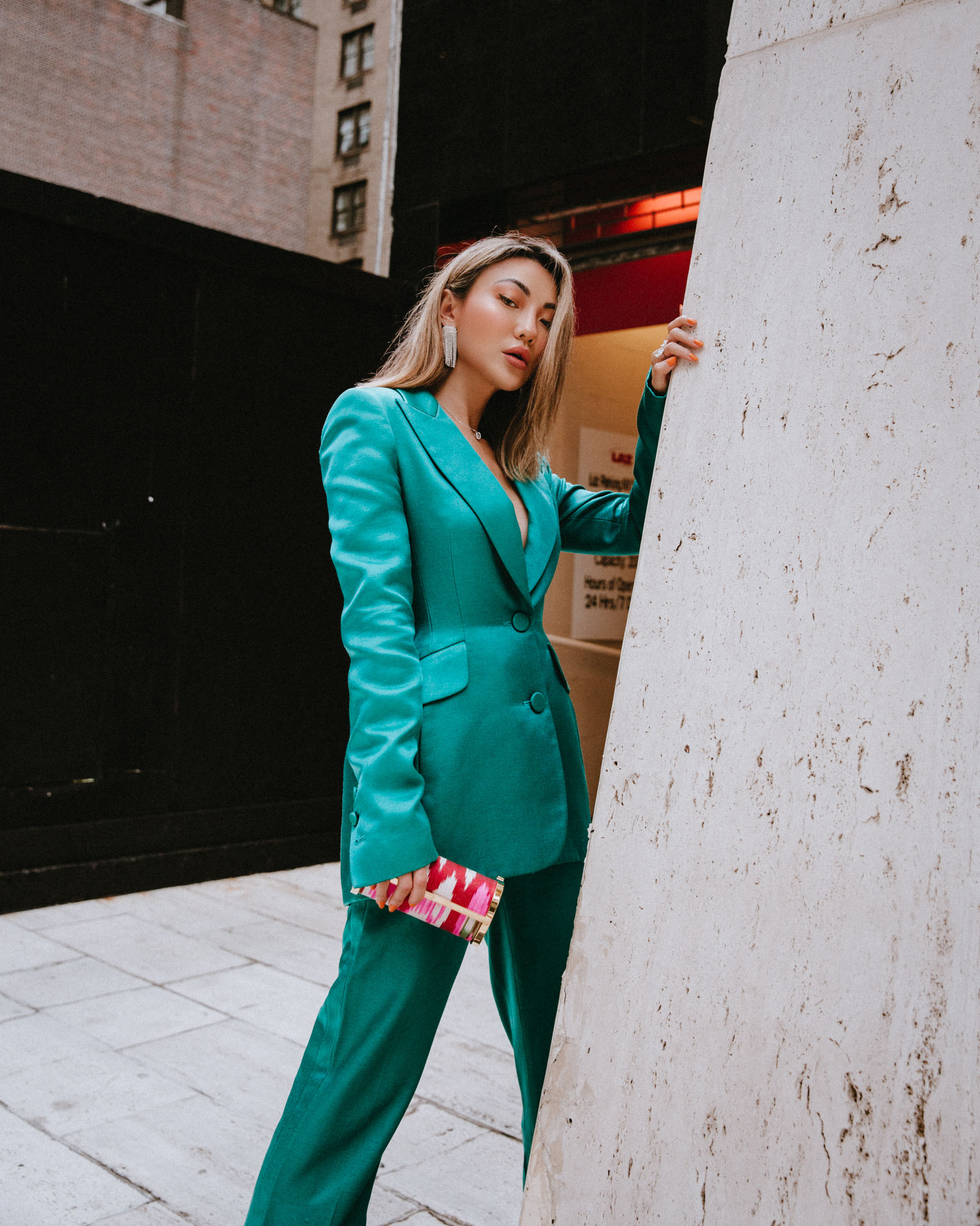 green suit, nyfw style, products to survive fashion month // Notjessfashion.com