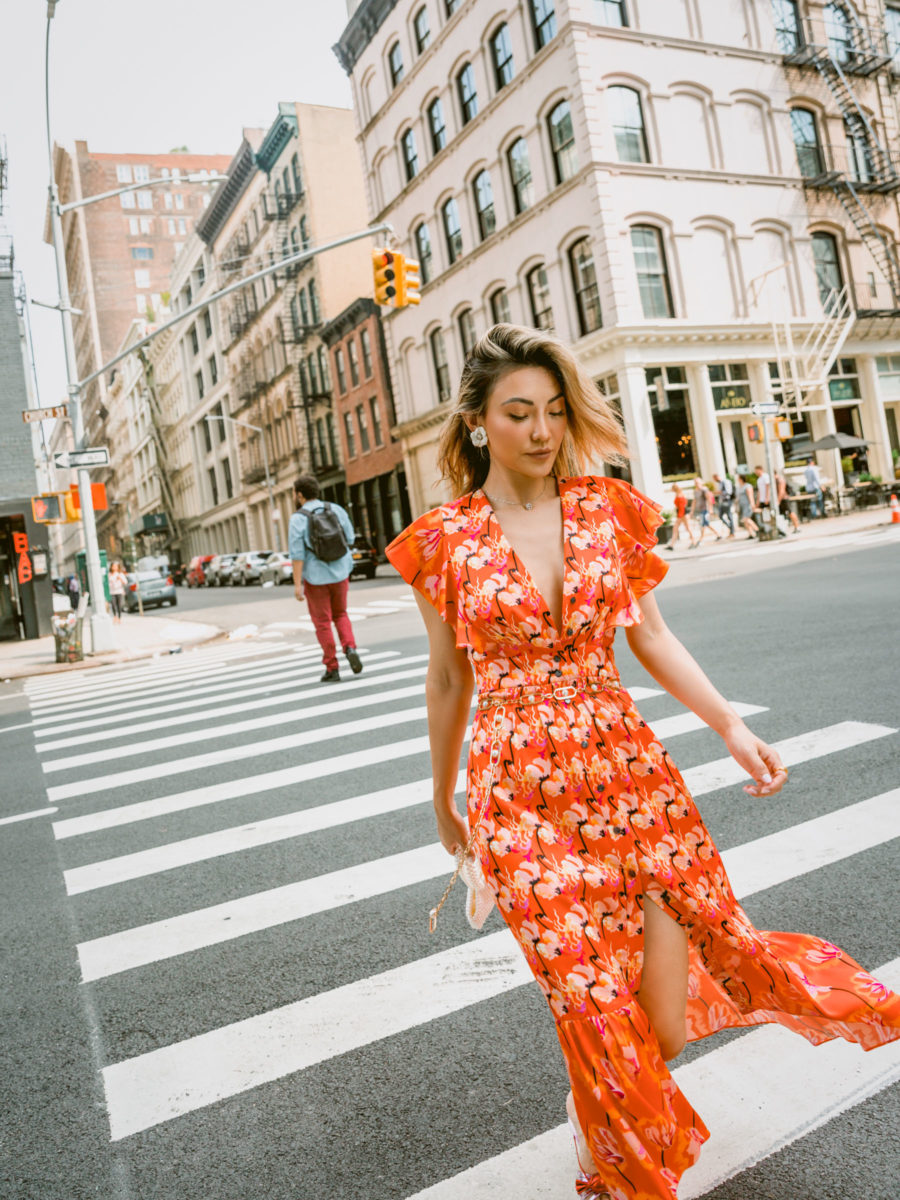 fashion blogger jessica wang shares how to use instagram wearing orange floral dress on nyc street // Notjessfashion.com