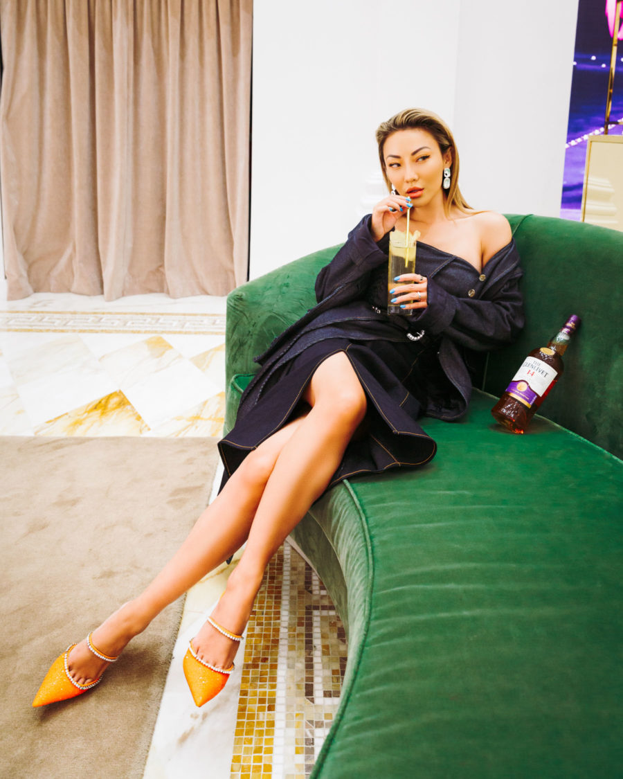 jessica wang wearing a dark jean jacket with a matching slit skirt and amina muaddi pumps while sharing her self-care tips // Jessica Wang - Notjessfashion.com