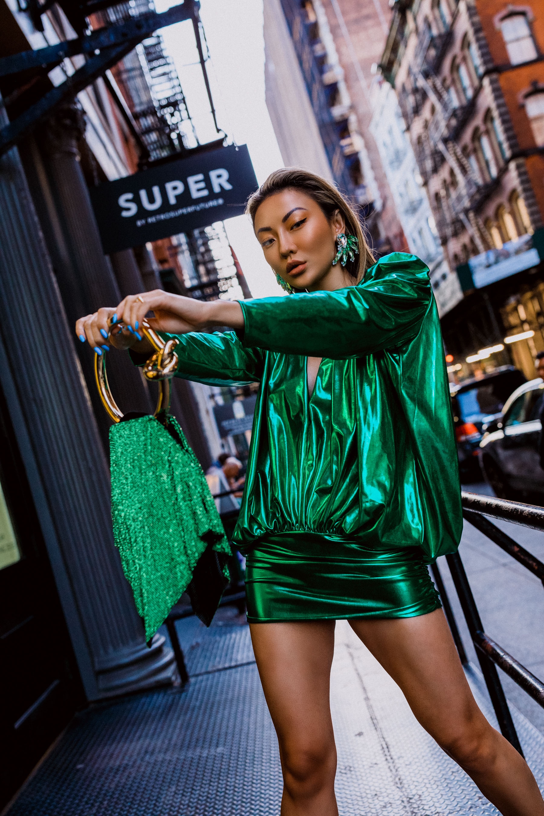 wear metallic, metallic outfit, metallic green dress nyfw outfit // Notjessfashion.com