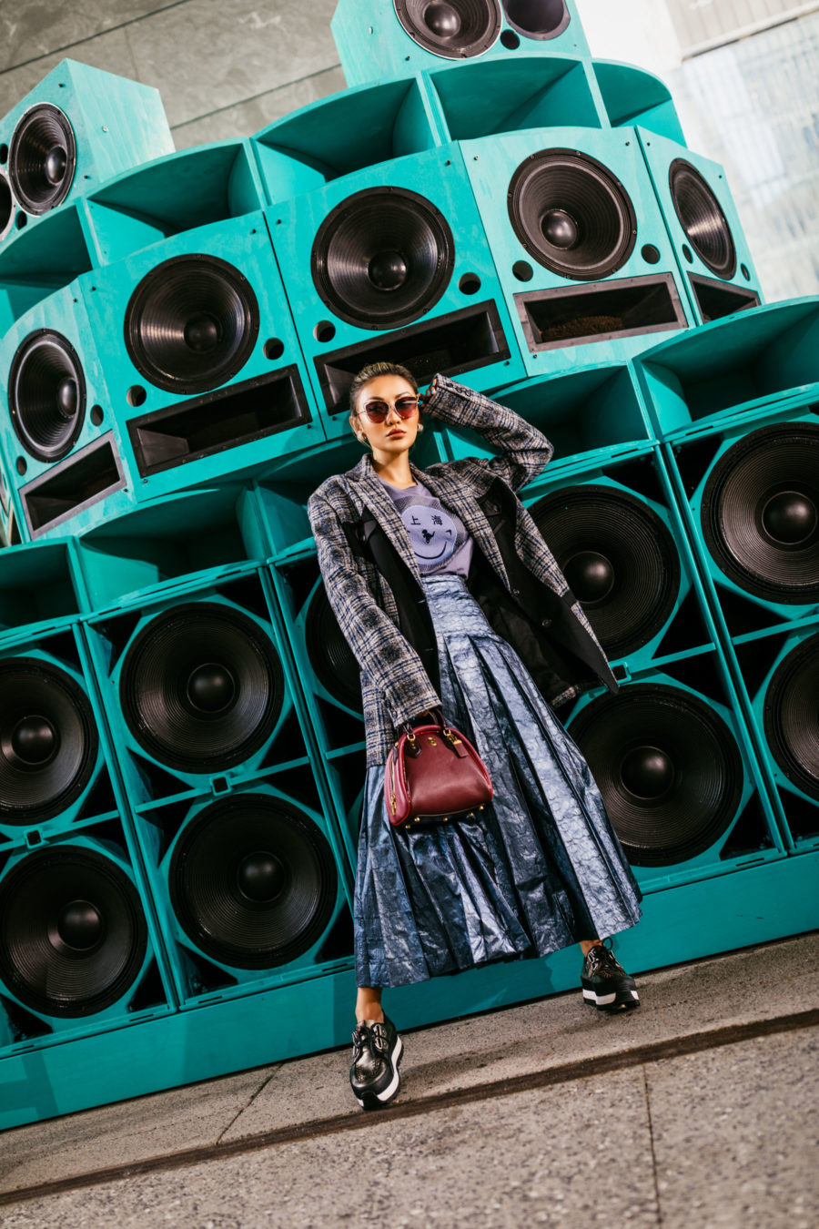 fashion blogger jessica wang wears blue skirt and plaid blazer showcasing spring color trends // Jessica Wang - Notjessfashion.com