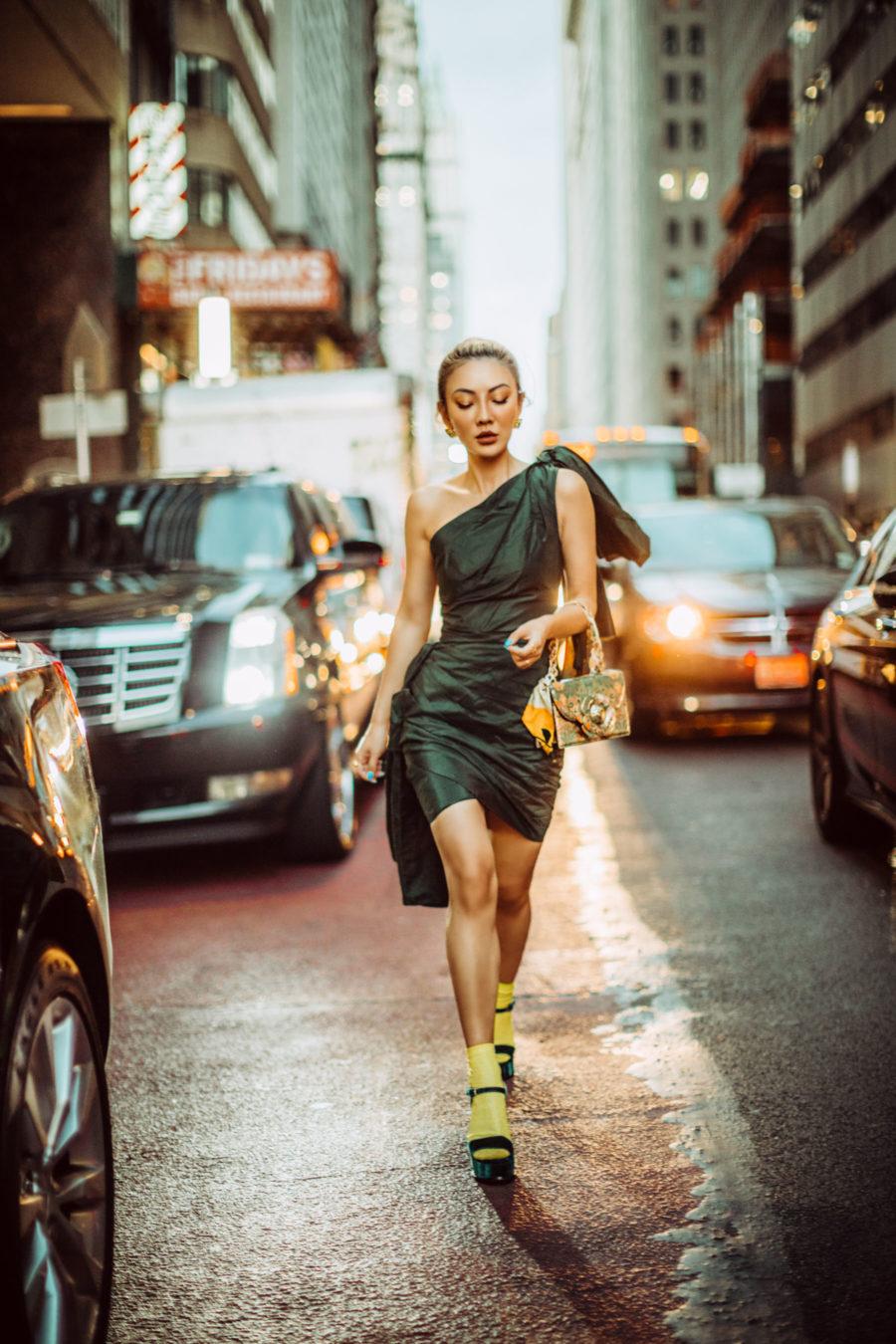 evening looks, little black dress, one shoulder dress, socks with sandals // Notjessfashion.com