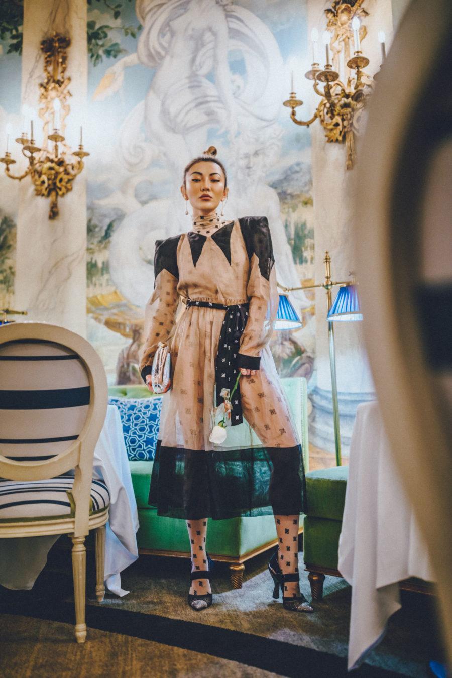 jessica wang wearing a fendi mesh dress while sharing trendy summer dresses // Jessica Wang - Notjessfashion.com