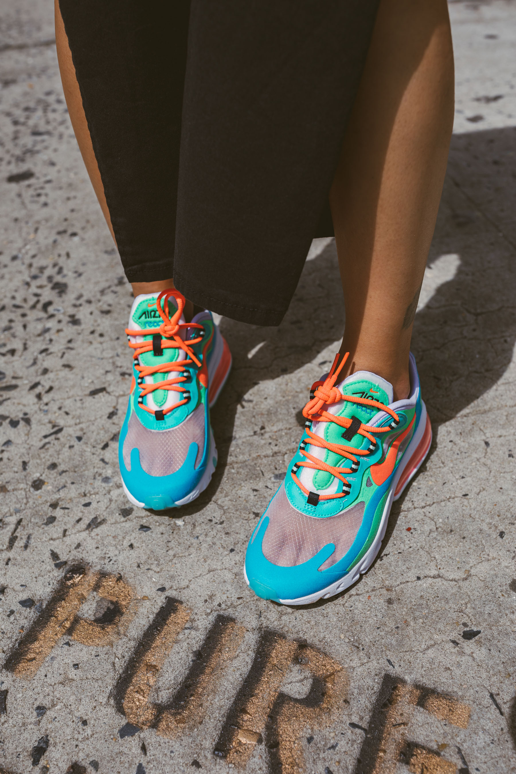 best fashion sneakers for fall, Nike React 270's Women's Psychedelic Colorway, Nike React 270 sneakers, bold sneakers // Notjessfashion.com