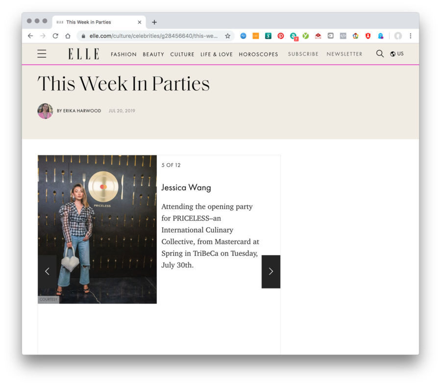 Elle.com This Week in Parties Feature Jessica Wang 2019 || NotJessFashion.com