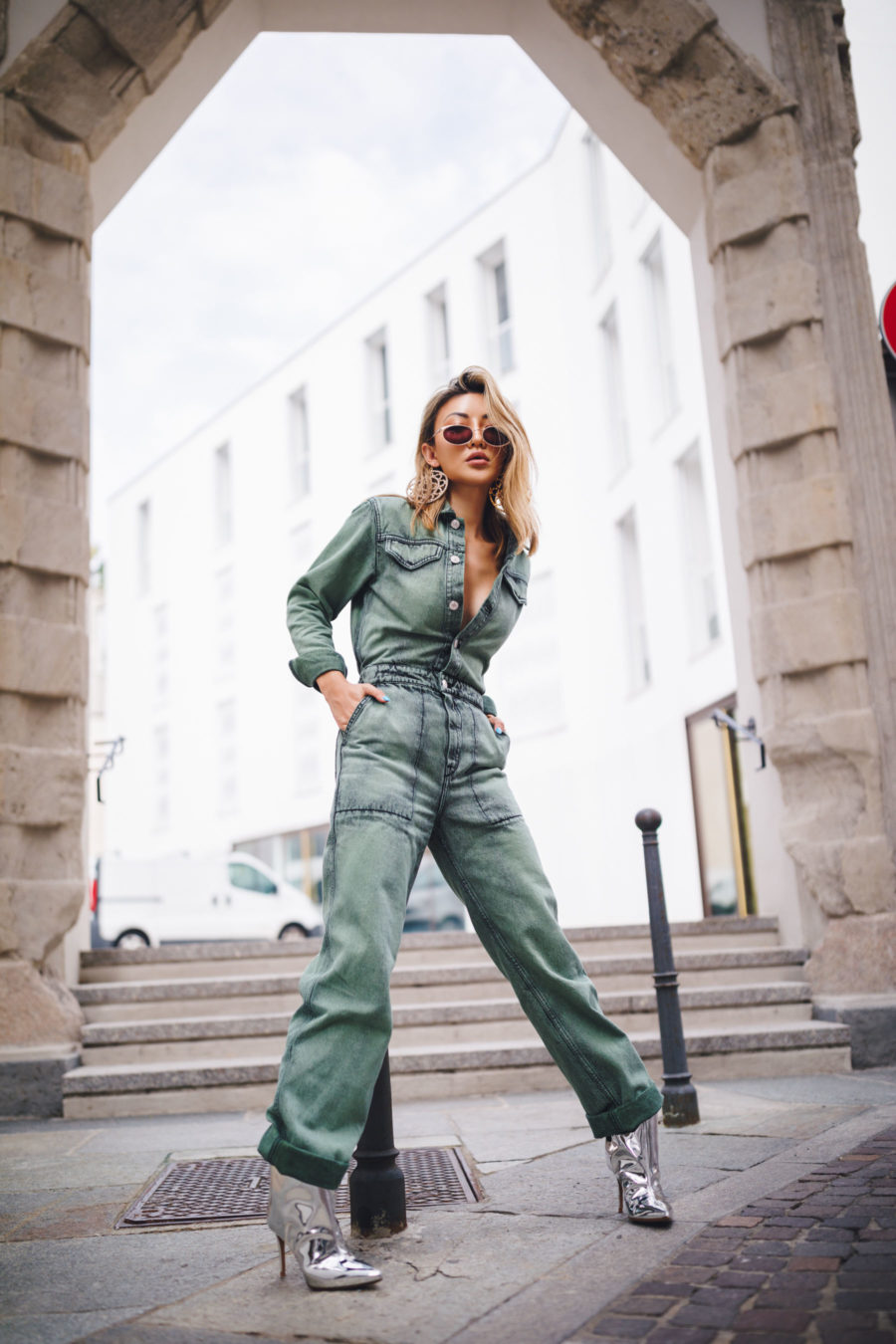 fashion blogger jessica wang shares ugly fashion trends of 2020 wearing denim boilersuit and silver booties // Notjessfashion.com