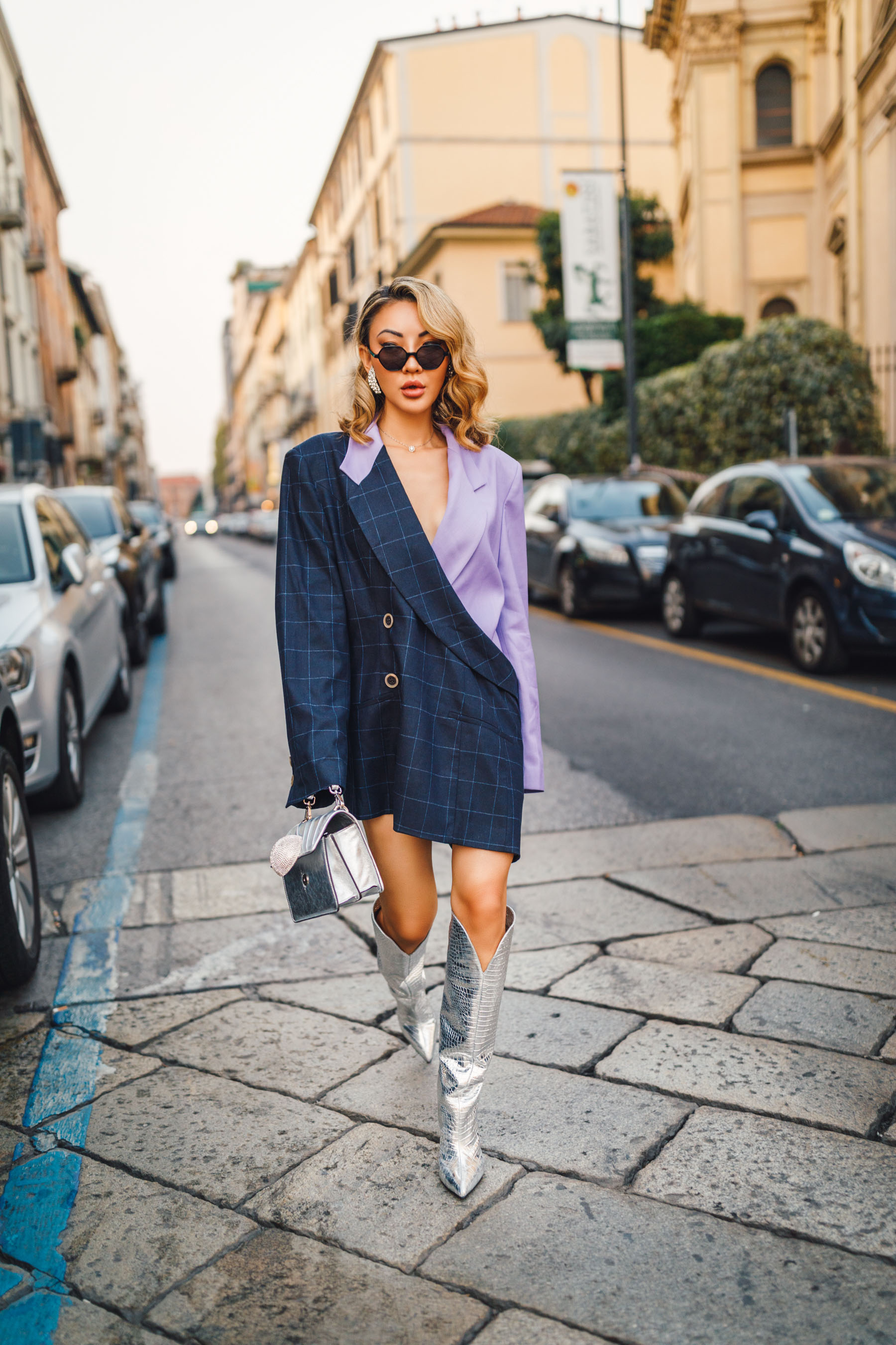 Natasha Zinko check pattern jacket in navy and lilac, cubic zirconia earrings, Paris Texas croc effect boots, gedebe handbag // Notjessfashion.com