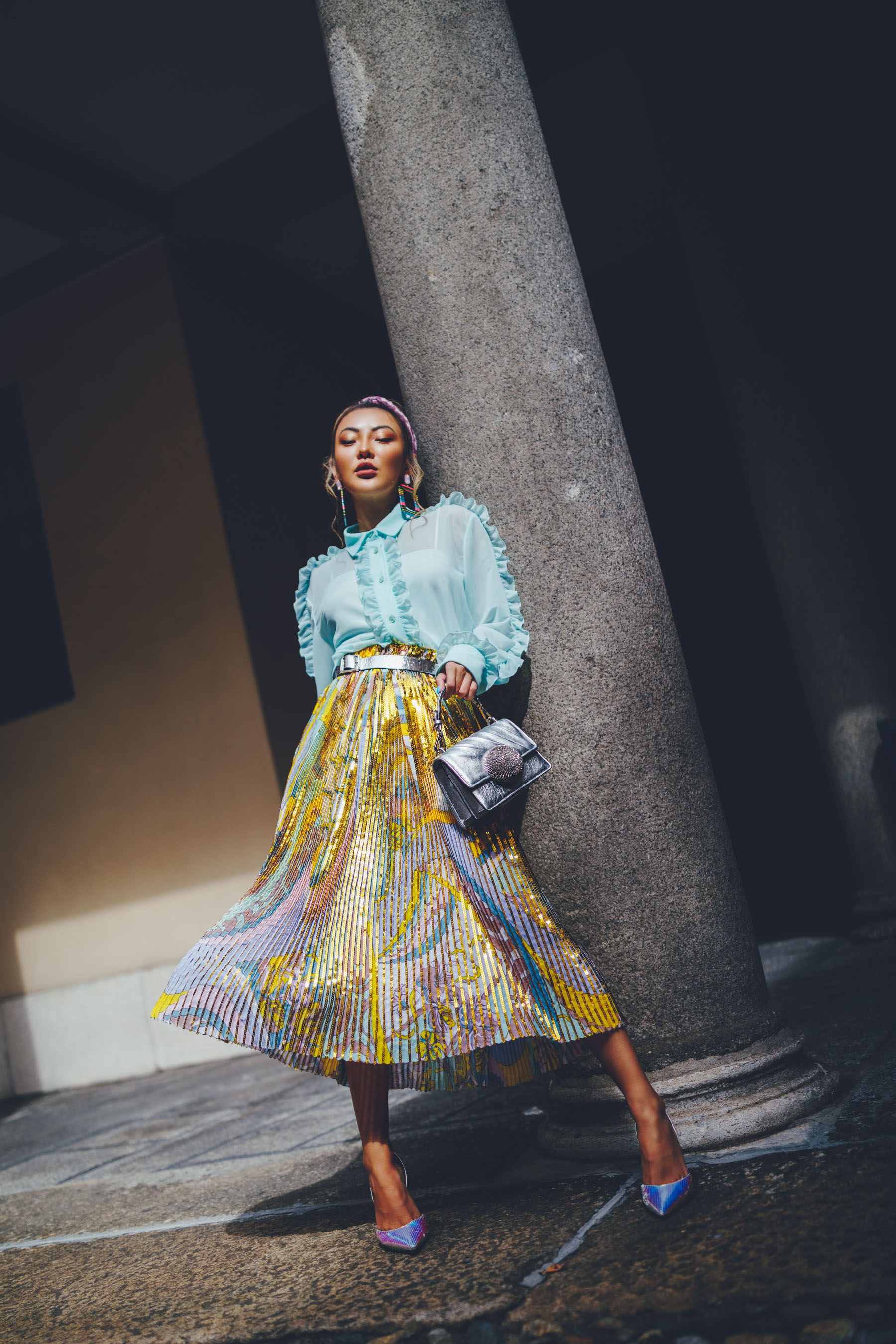 Emilio Pucci pleated skirt, mary jane claverol earrings, gedebe top handle handbag, amina muaddi slingback pumps // Notjessfashion.com