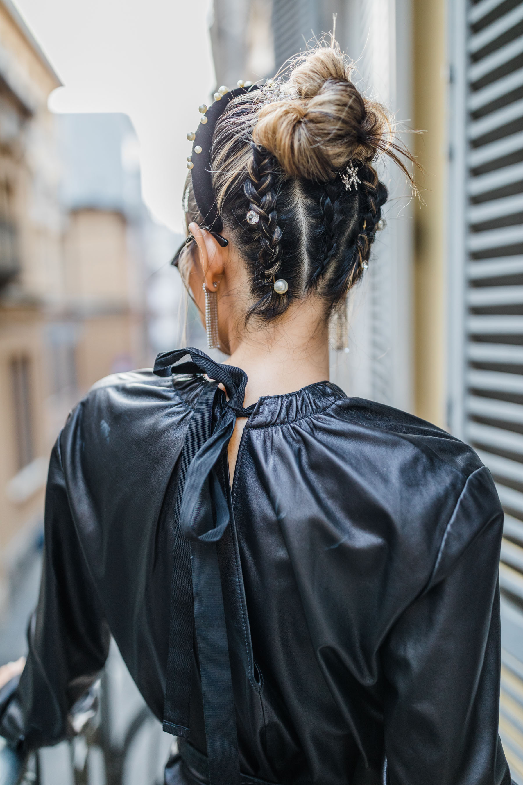 fashion week hair style, fashion week hair trends, headband trend, pearls in hair, mfw hair trends // Notjessfashion.com