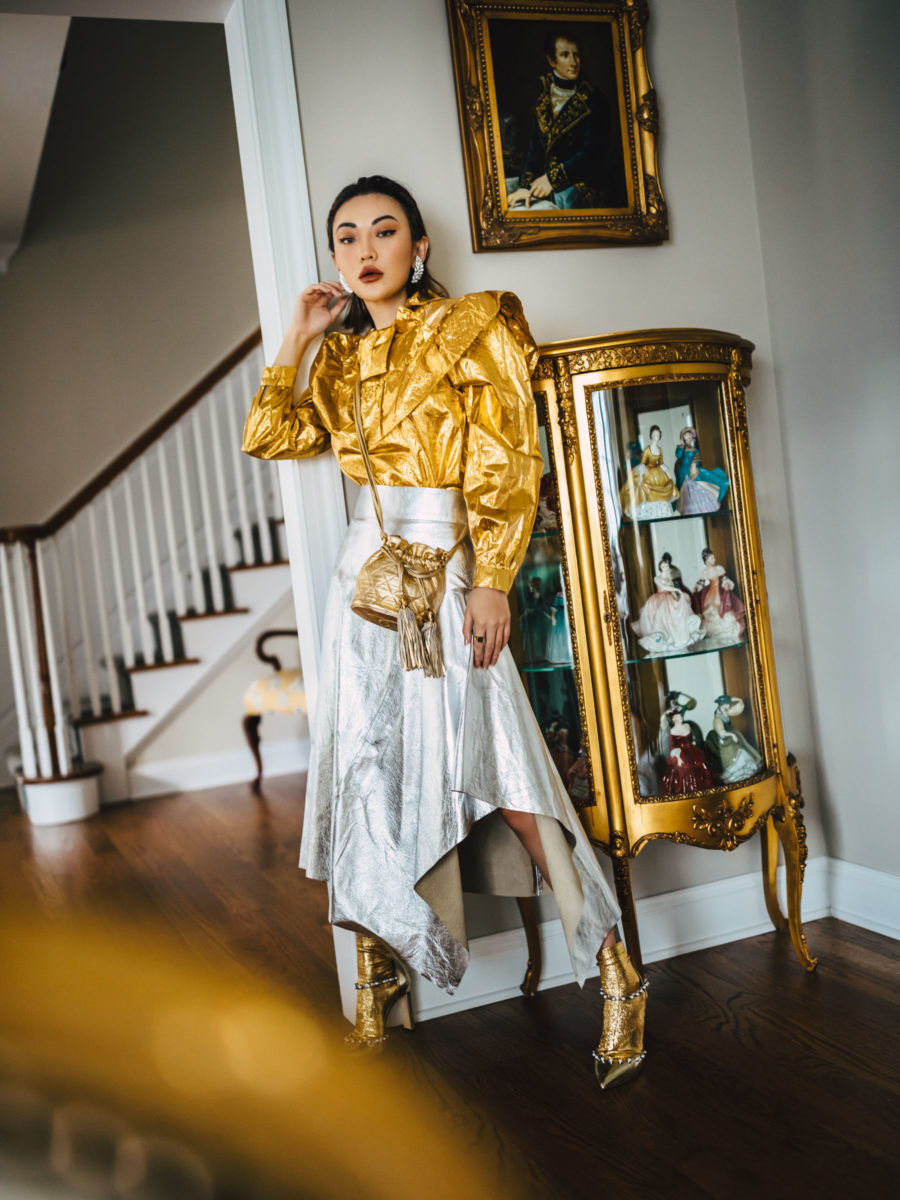 silver and gold outfit for the holidays // Jessica Wang - Notjessfashion.com