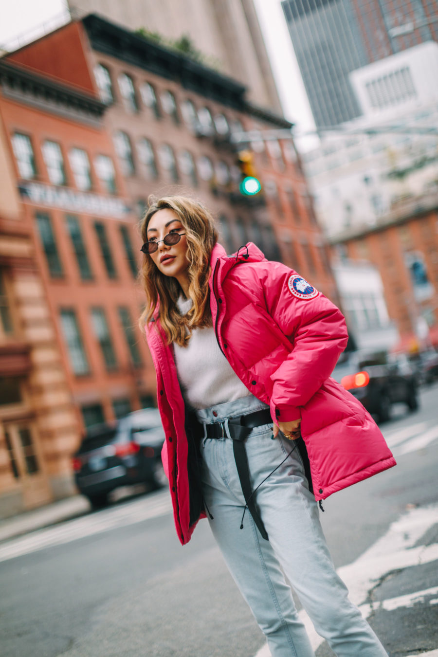 jessica wang wears trendy winter coats - pink puffer coat // Jessica Wang - Notjessfashion.com