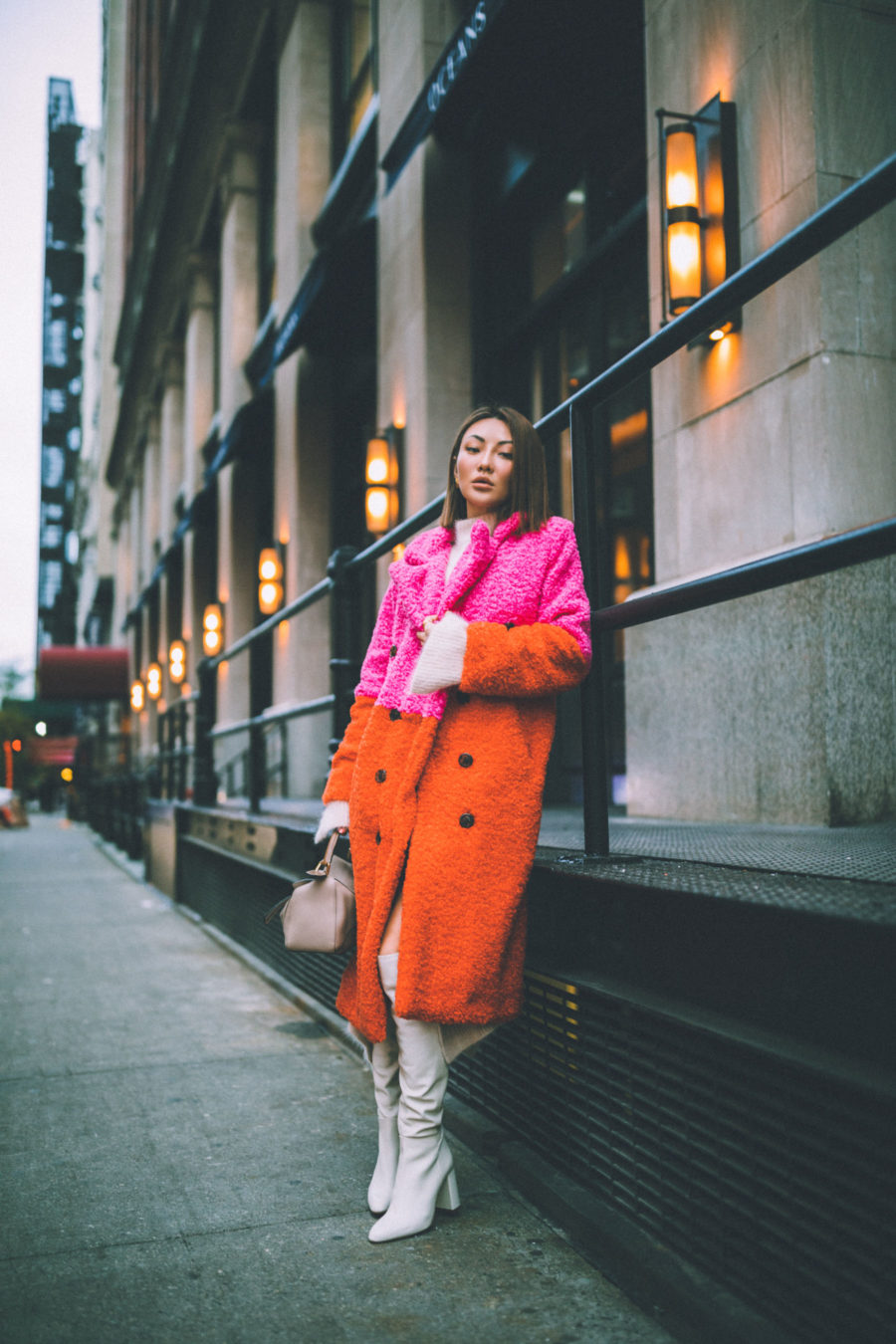 fashion blogger jessica wang shares holiday gift guide for the whole family wearing colorblock coat loewe puzzle bag and white boots // Notjessfashion.com