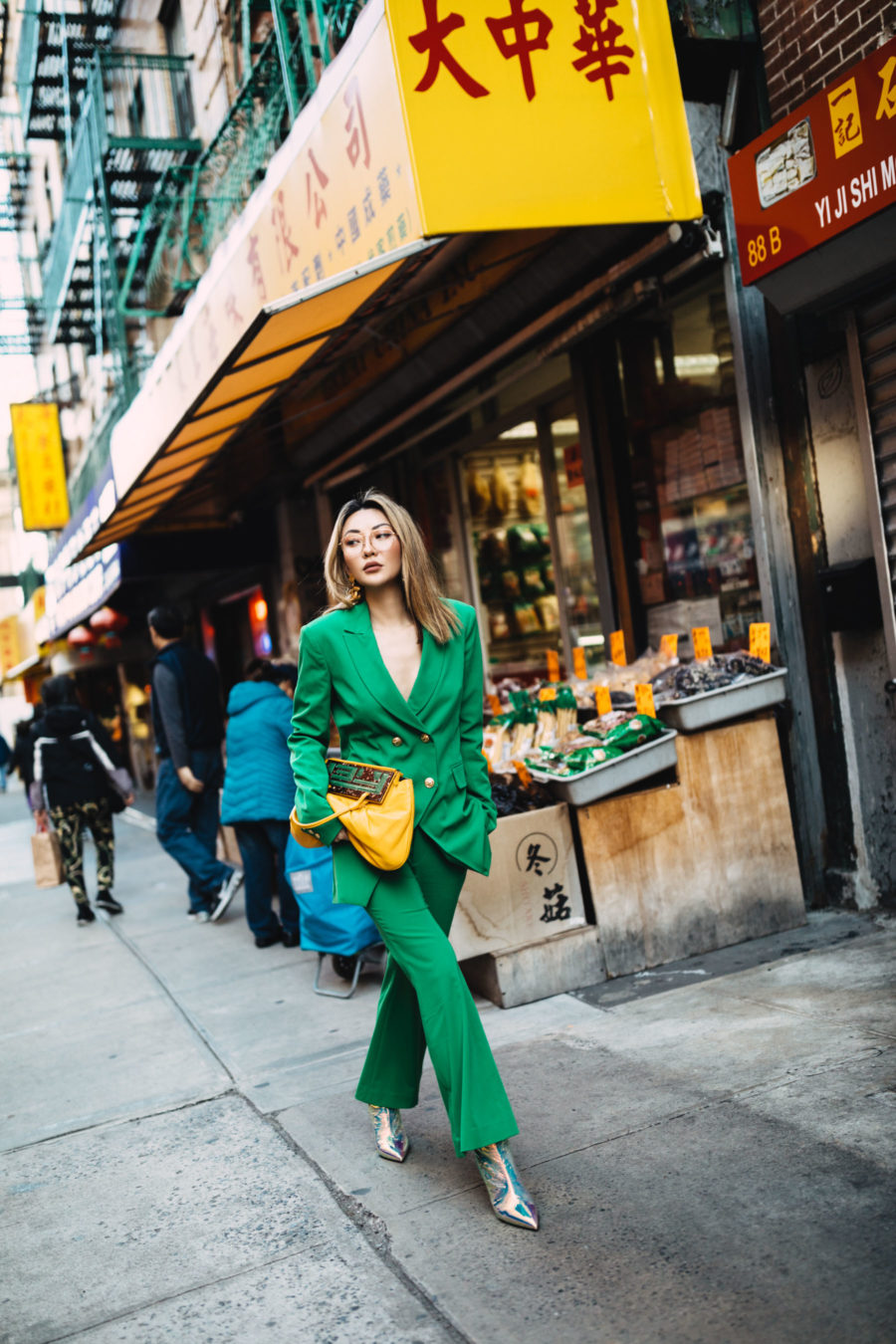 Chinese New Year 2020 in Chinatown NYC wearing a green suit // Notjessfashion.com