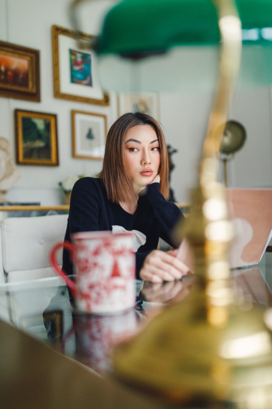 fashion blogger jessica wangs sits inside home office and shares favorite amazon buys // Jessica Wang - Notjessfashion.com