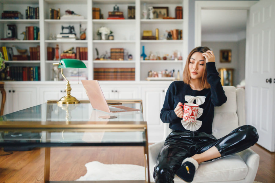 fashion blogger jessica wang at her home office drinking coffee and sharing ways to stay productive // Jessica Wang - Notjessfashion.com