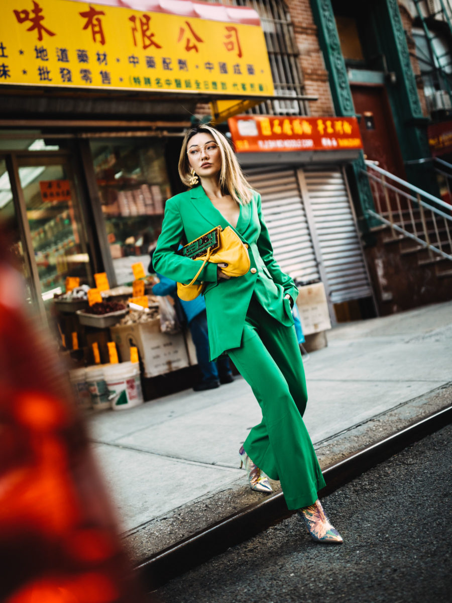 green suit and metallic boots in nyc chinatown // Notjessfashion.com