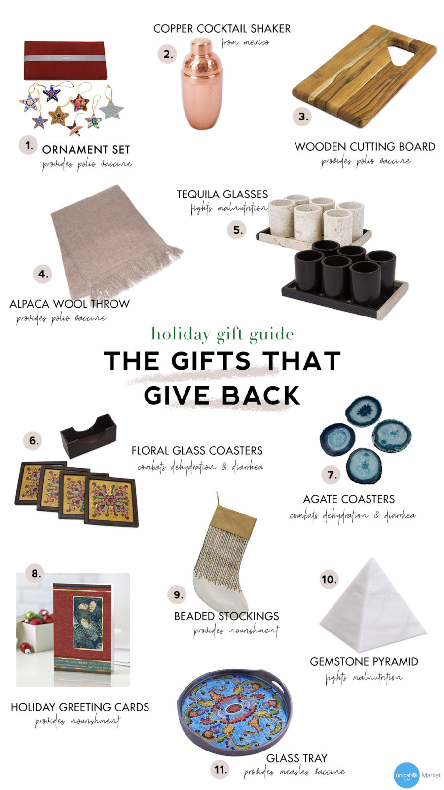 holiday gifts that give back collage with unicef // Notjessfashion.com