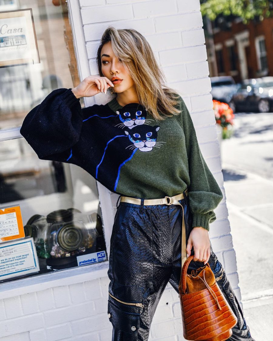 fashion blogger jessica wang wears cat print sweater and shares essential haircare tips // Jessica Wang - Notjessfashion.com