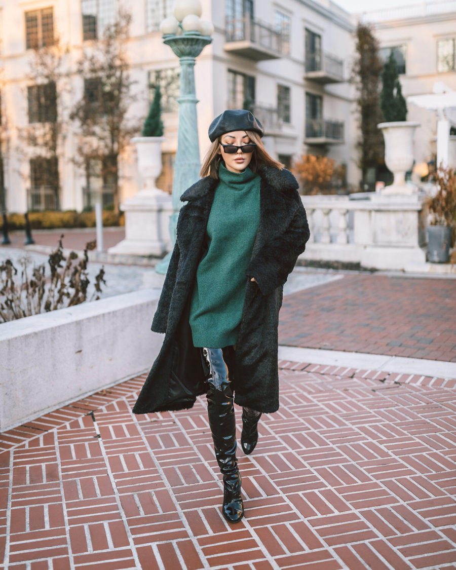 Christmas Outfits - Evergreen - green sweater dress, over the knee boots, faux fur coat // Jessica Wang - Notjessfashion.com