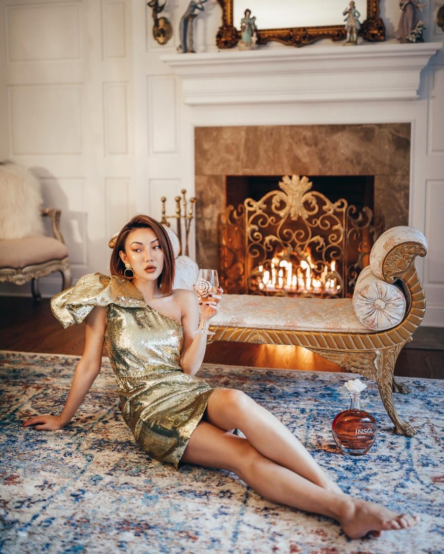 fashion blogger jessica wang shares Valentine's Day gifts wearing a gold sequin dress // Notjessfashion.com