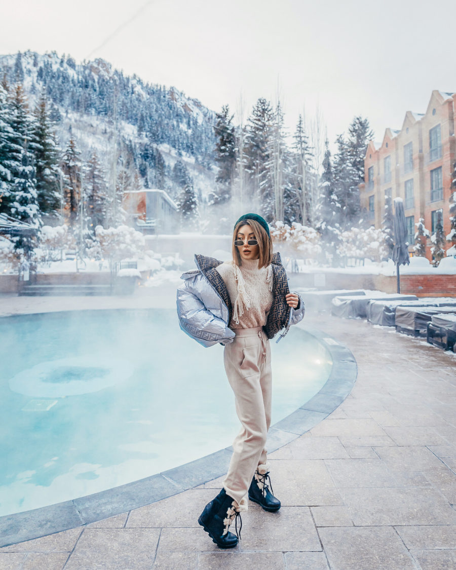 chic skiwear featuring fendi puffer coat sweat pants and shearling boots // Notjessfashion.com