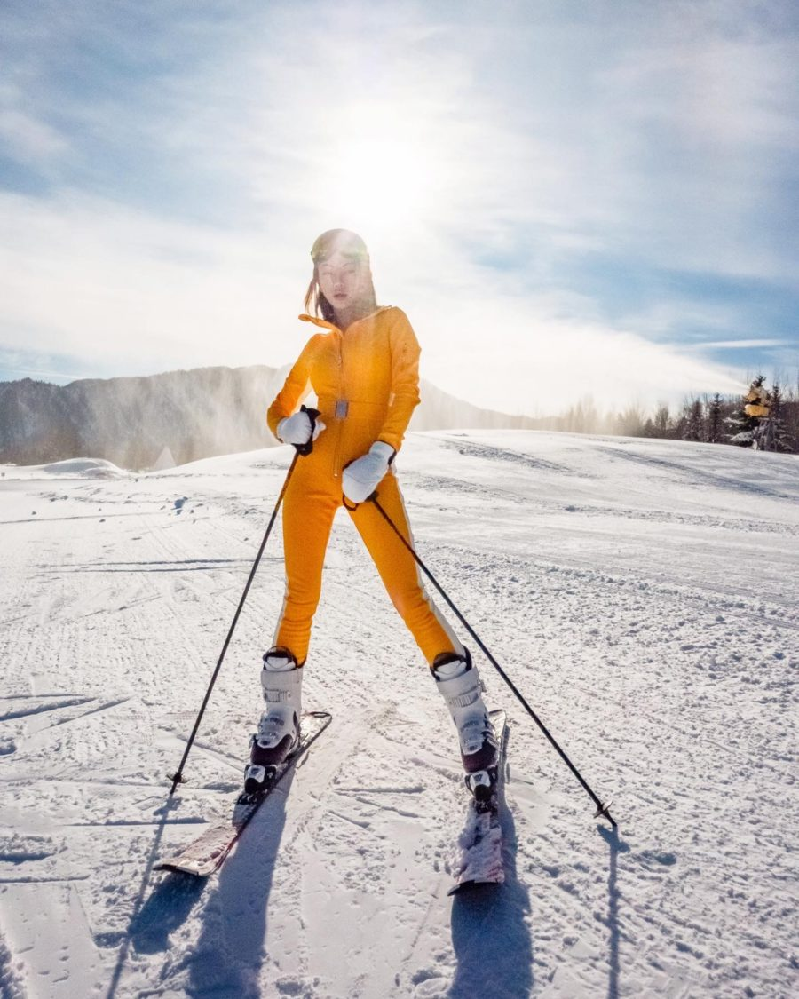 Chic skiwear in Cordova yellow snow suit // Notjessfashion.com