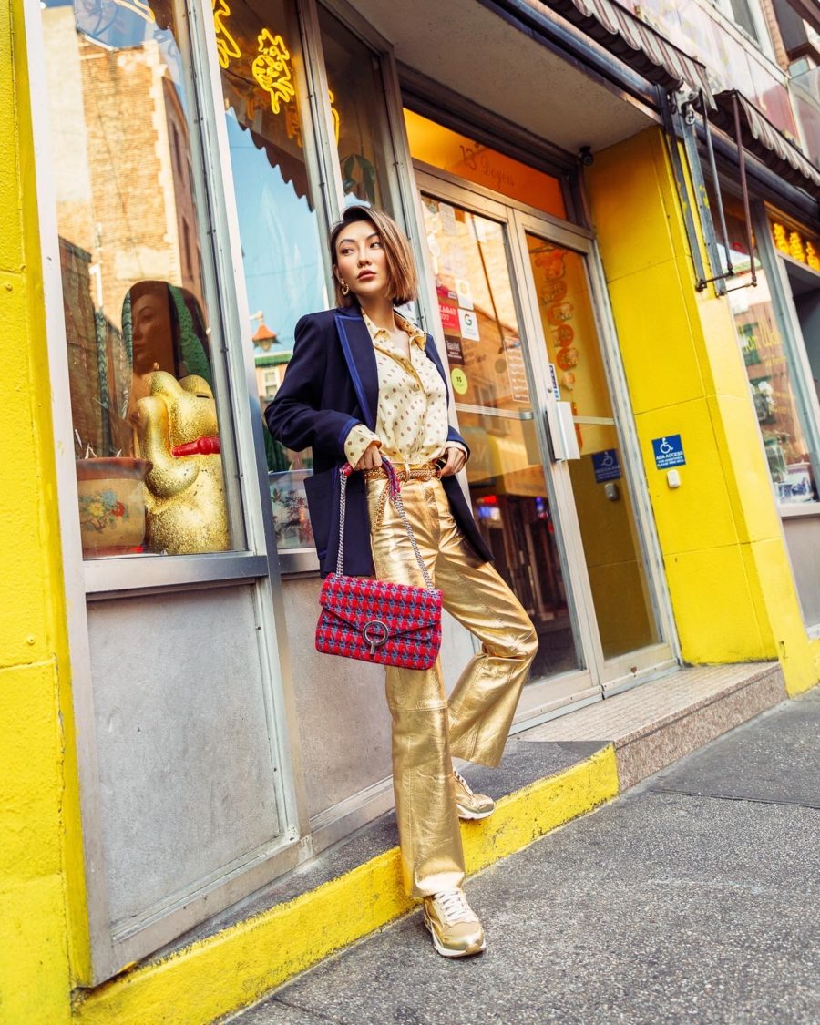 fashion blogger jessica wang shares how to use instagram wearing gold pants and velvet blazer // Notjessfashion.com