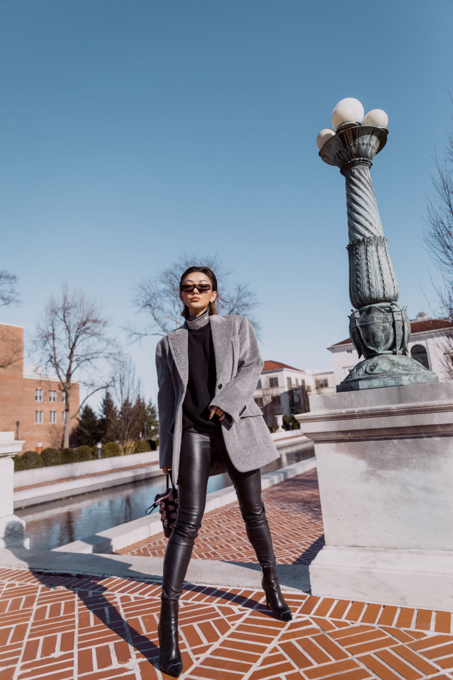 fashion blogger jessica wang wears alexander wang blazer leather leggings rhinestone sweater and caged handbag // Notjessfashion.com