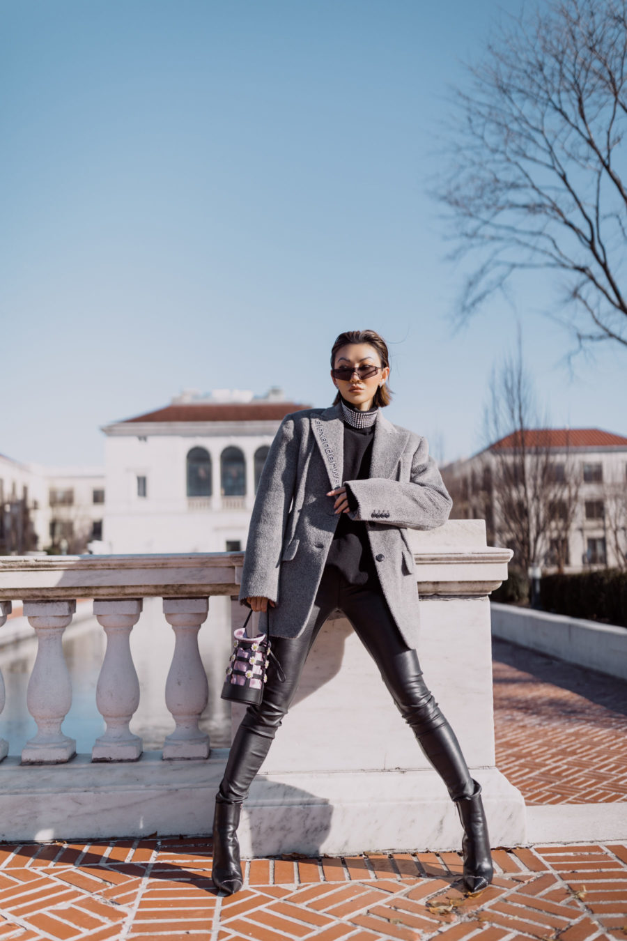 fashion blogger jessica wang wears smart investment pieces featuring alexander wang blazer leather leggings rhinestone sweater and caged handbag // Notjessfashion.com