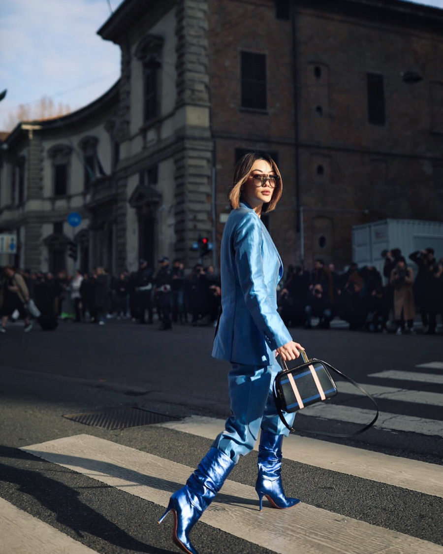 fashion blogger jessica wang wears blue max mara suit and amina muaddi blue boots for mfw // Notjessfashion.com