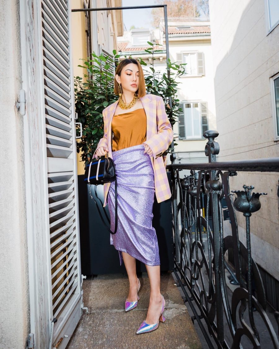 fashion blogger jessica wang shares what's inside her makeup bag, jessica wang wears blaze milano blazer with paco robanne skirt and amina muaddi heels