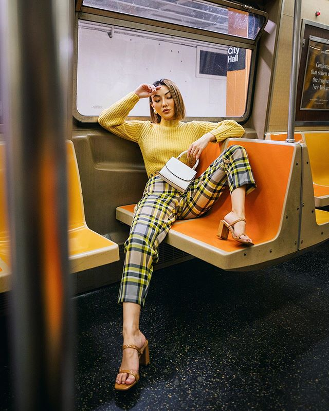 cute thanksgiving outfits by jessica wang - yellow sweater and plaid pants // Jessica Wang - Notjessfashion.com