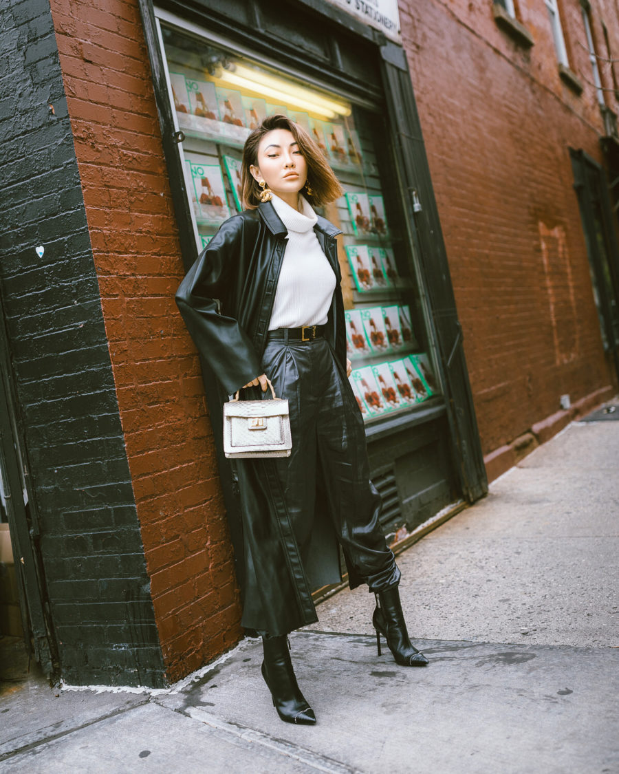 jessica wang wears trendy winter coats - faux leather trench coat // Jessica Wang - Notjessfashion.com