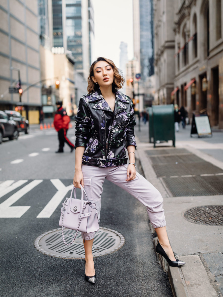 perfect spring outfit featuring michael kors leather jacket and joggers // Notjessfashion.com