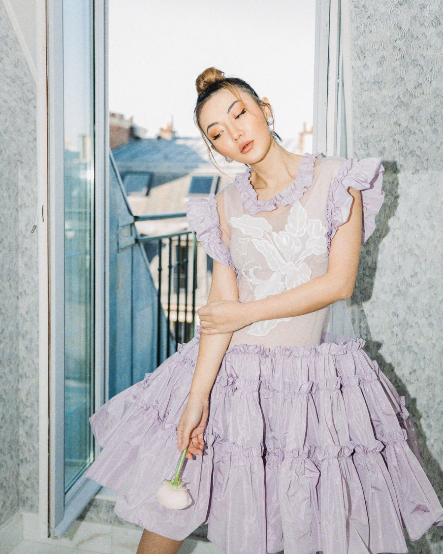 cbd beauty guide from jessica wang wearing lavender ruffle dress