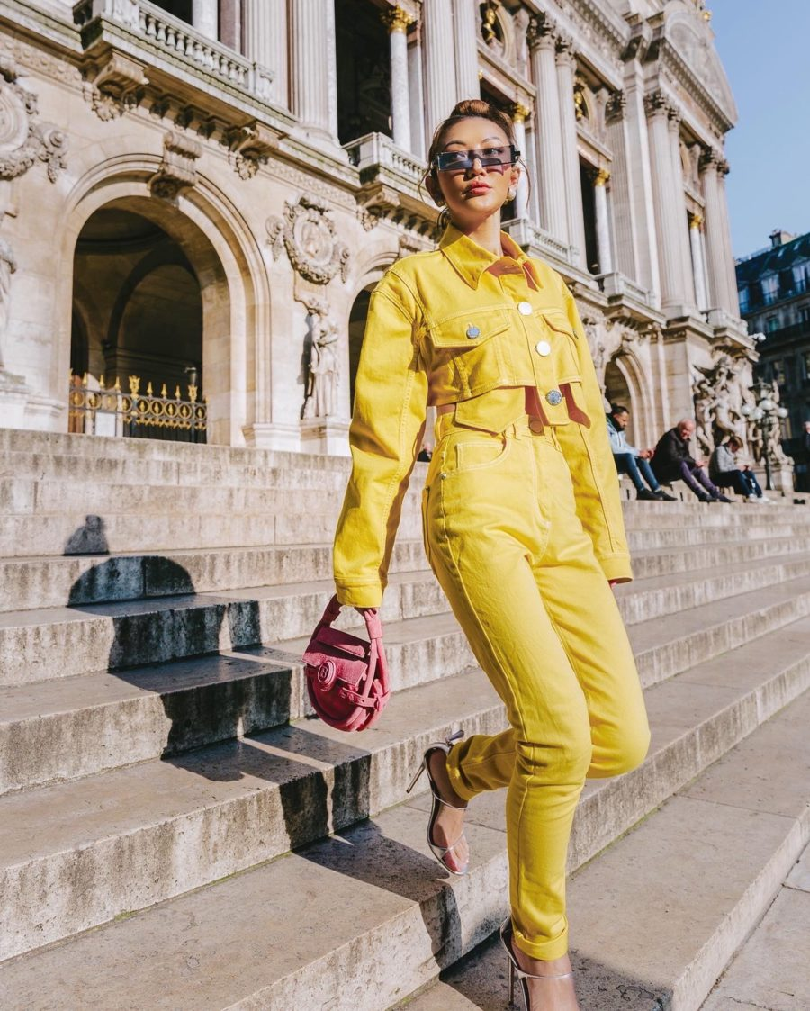 fashion blogger jessica wang wears balmain denim suit and shares tips for staying safe in public places // Jessica Wang - Notjessfashion.com