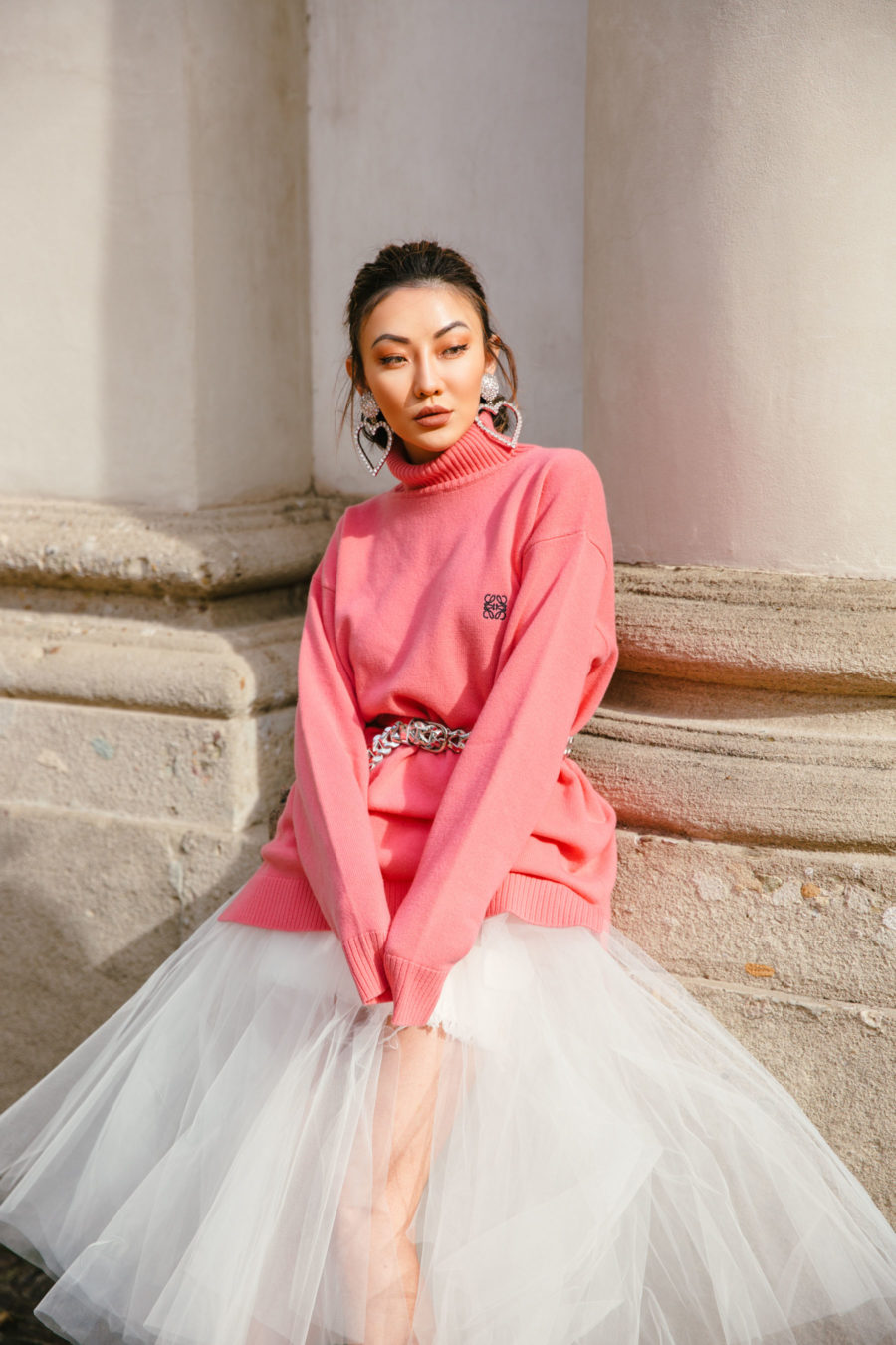 cute thanksgiving outfits by jessica wang - tulle skirt and sweater // Jessica Wang - Notjessfashion.com