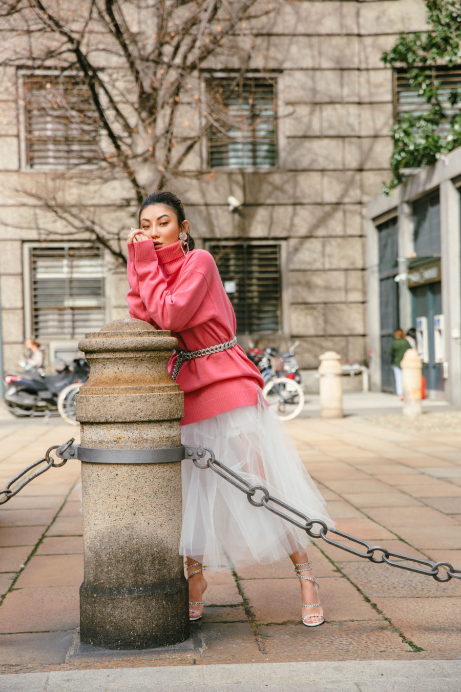 spring trends that are worth the investment featuring coral pink sweater and unravel denim tulle skirt // Notjessfashion.com