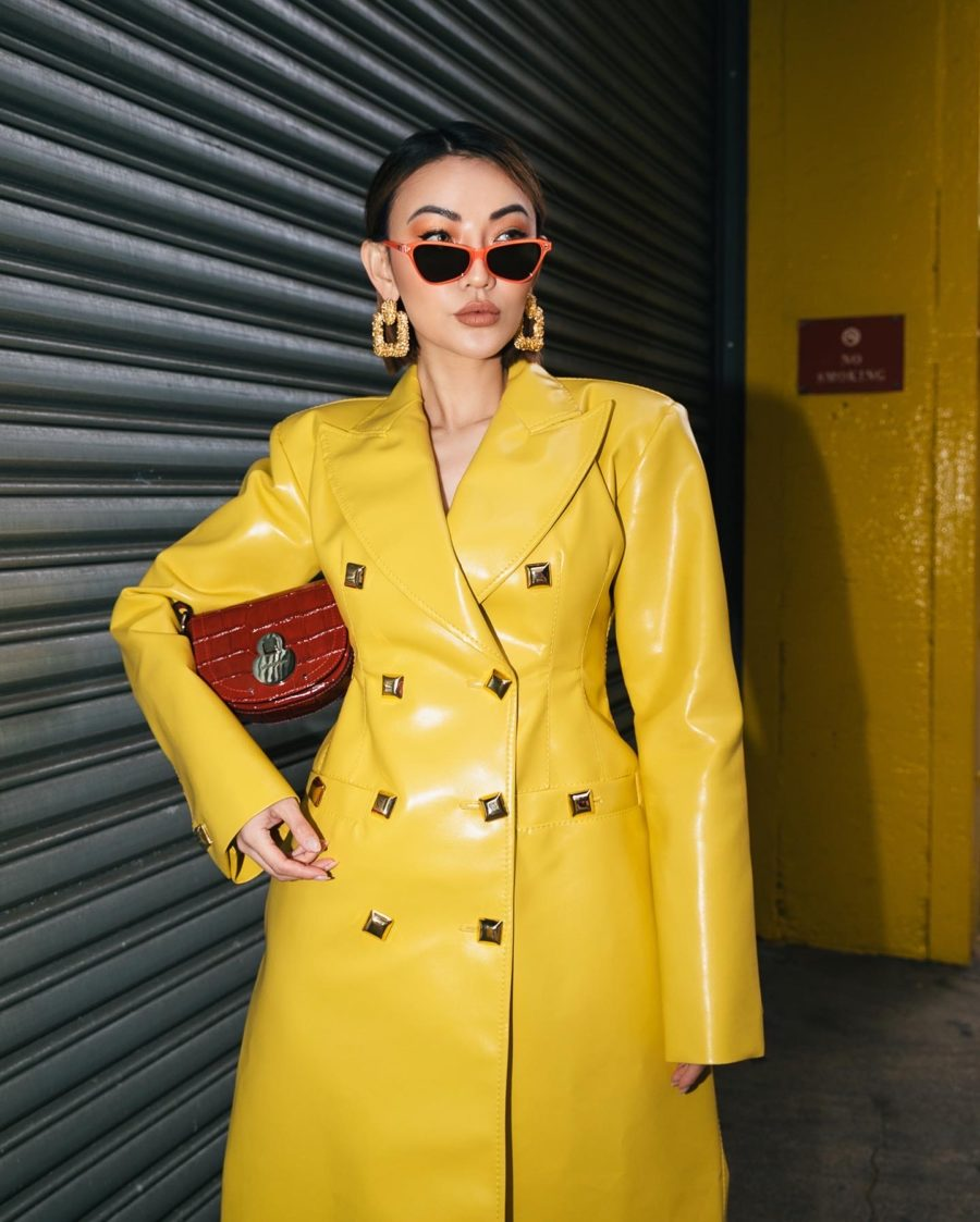 fashion blogger jessica wang wears yellow trench coat from luisaviaroma for mfw // Jessica Wang - Notjessfashion.com