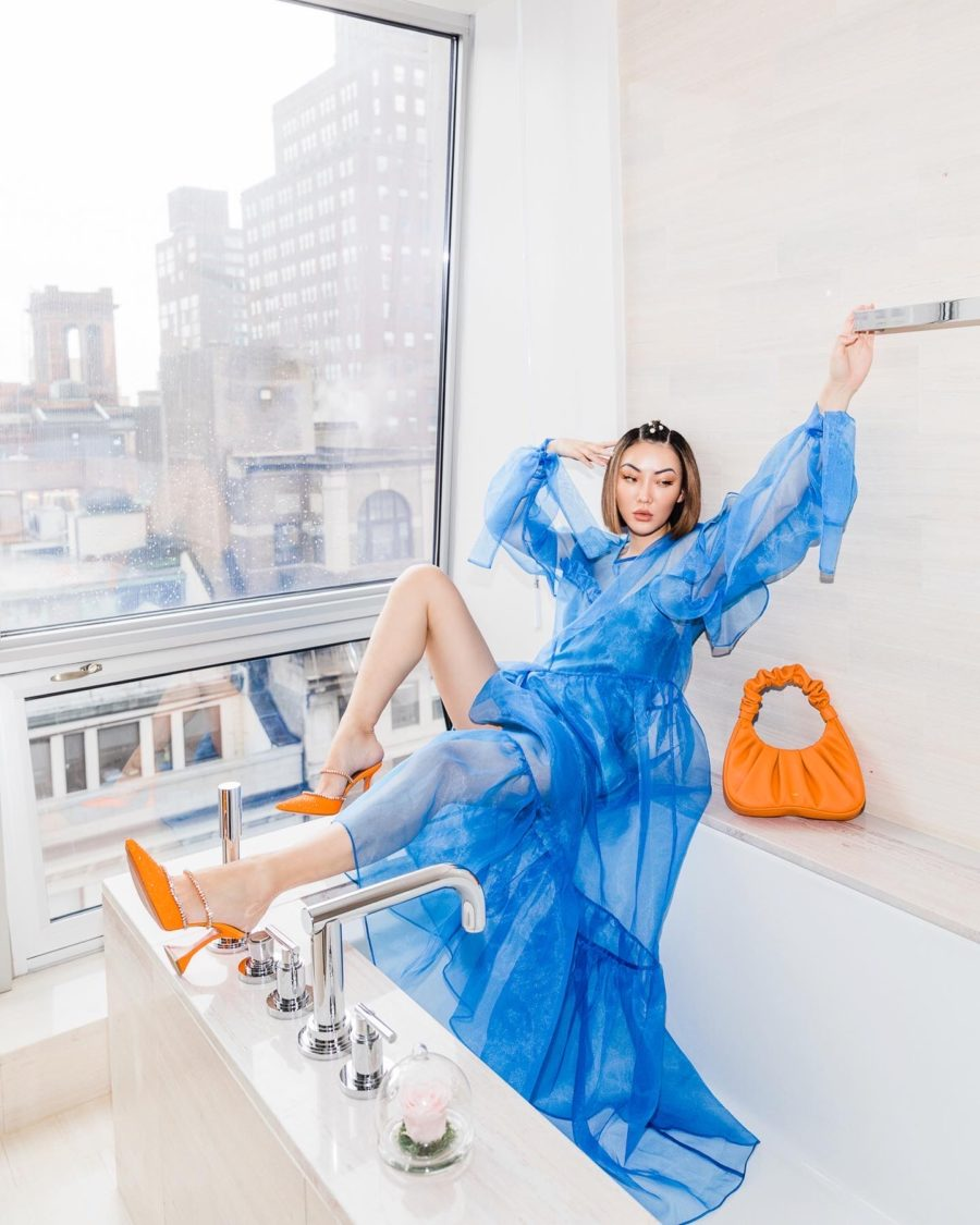color combinations for summer - blue and orange outfit // Jessica Wang - Notjessfashion.com