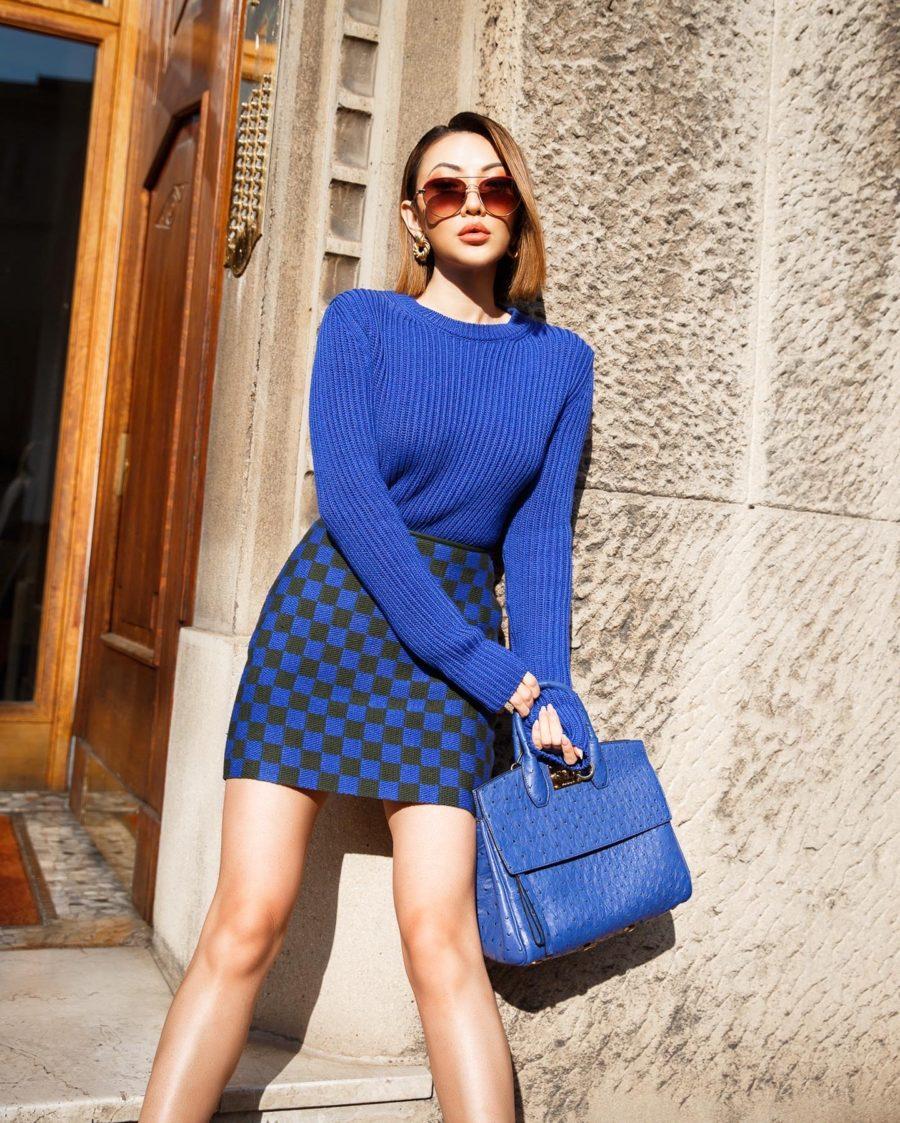Nordstrom Anniversary Sale 2020 - Salvatore Ferragamo Sweater, check skirt, ferragamo handbag// Jessica Wang - Notjessfashion.com